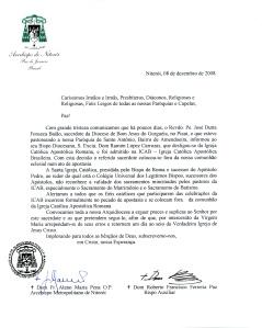 Nota Oficial da Arquidiocese de Niterói